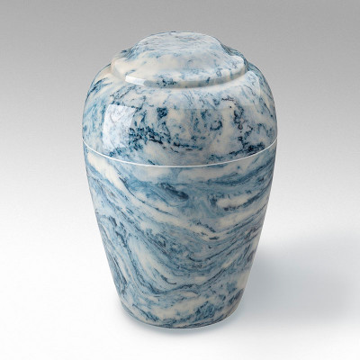 Grecian Cultured Marble Urn in Sky Blue