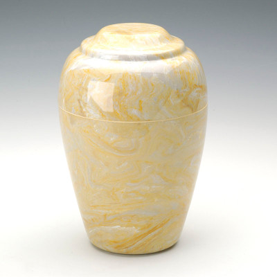 Grecian Cultured Marble Urn in Gold