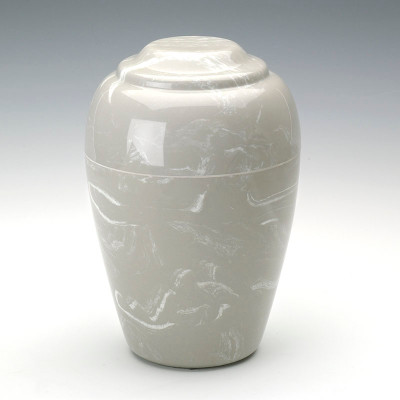 Grecian Cultured Marble Urn in Silver Gray