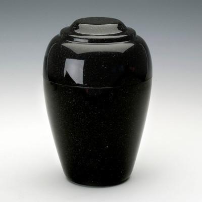 Grecian Cultured Granite Urn in Orca Black