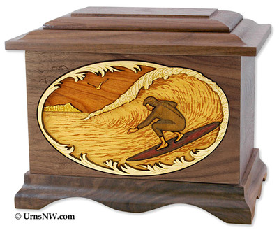 Surfing Wood Cremation Urn - Pictured in Walnut