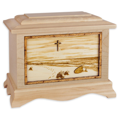 Footprints in the Sand Beach Cremation Urn - Maple Wood
