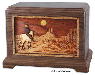 Horse rider or Cowboy in the desert Riding Home