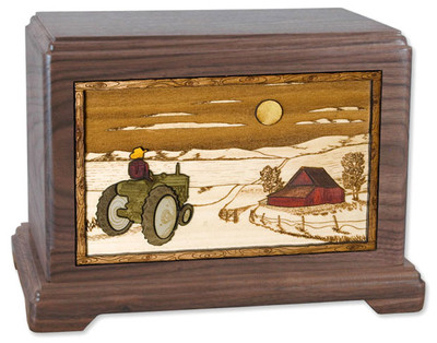 Walnut Wood Urn with Farm Tractor