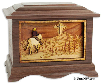Horse Riding Home Cremation Urn in Walnut Wood