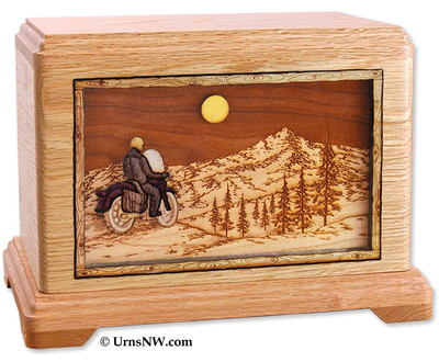 Motorcycle Riding Home Cremation Urn in Oak Wood