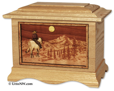 Mountain Horse Urn | Oak | Moon Option