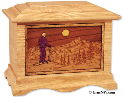 Skiing Home Cremation Urn - Urn with Skier