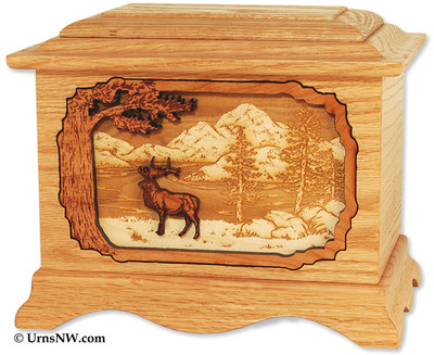 Elk Wood Cremation Urn with Dimensional Inlay Art