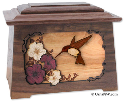 Hummingbird Cremation Urn in Walnut
