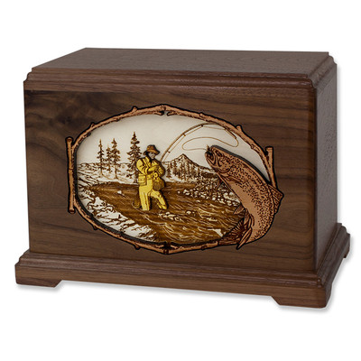 Stream Fishing Urn - Walnut Wood