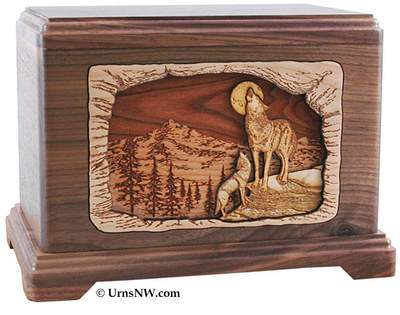 Moonlight Serenade Wolves Cremation Urn - Walnut