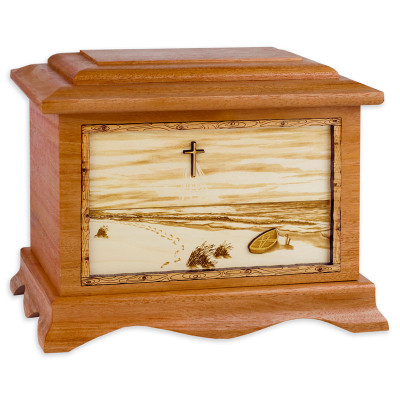 A Walk on the Beach Urn - Mahogany Wood w/ Cross