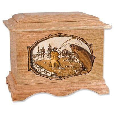 Salmon Fishing Cremation Urn