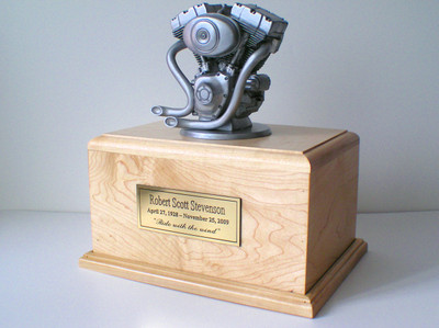 Motorcycle Engine Urn Silver Bust