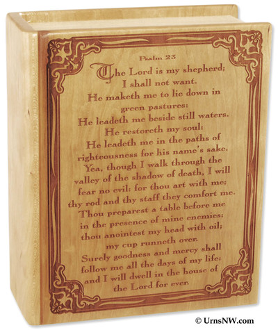 Bible urn with Psalm 23 Book urn