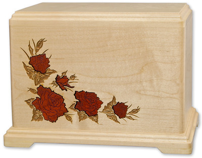 Rose Inlay Companion Urn in Maple