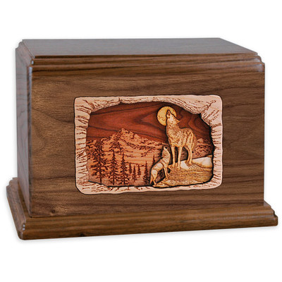 Howling Wolves Companion Cremation Urn - Walnut