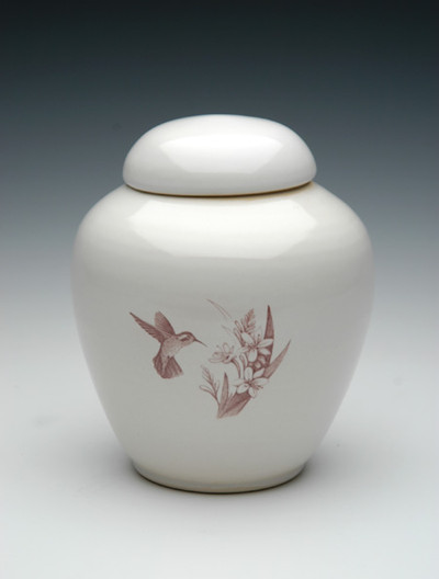 Hummingbird Ceramic Cremation Urn | Shape 2