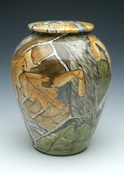Camo Ceramic Urn | Hand Painted Cremation Urn