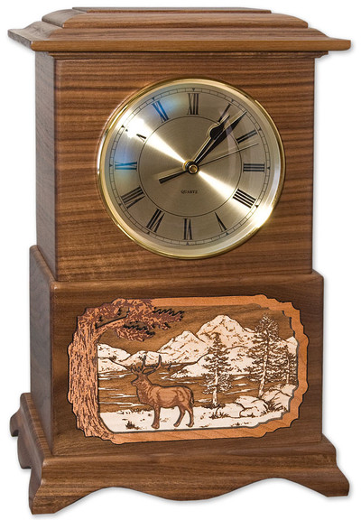 Ambassador Clock Urn - Walnut with Elk Scene