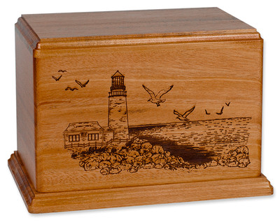 Laser Carved Lighthouse Urn - Mahogany