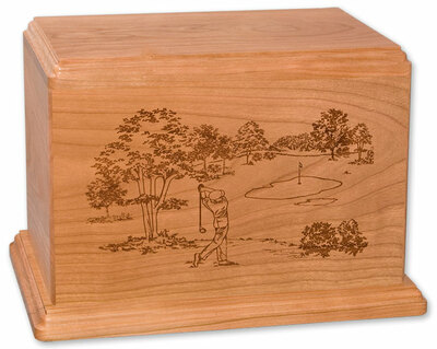 Laser Carved Golf Urn | Cherry