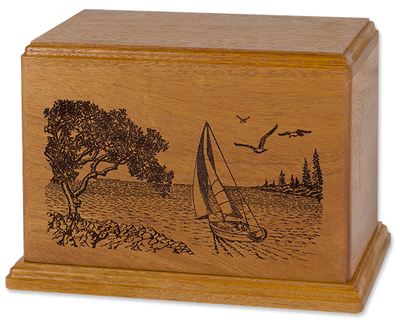 Laser Carved Wood Cremation Urn - Sailboat (Made in USA)
