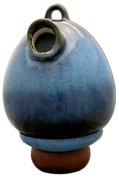 Birdhouse Urn in Cobalt Blue