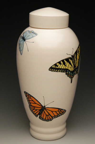 Hand Painted Butterfly Urn