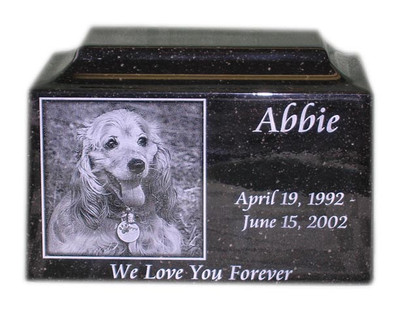 Engraved Photo Pet Urn in Granite