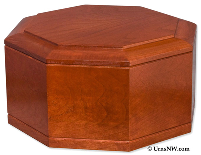 Octagon Cremation Urn - Cherry