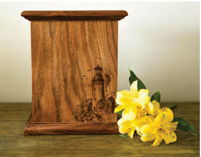 New Horizon Lighthouse Cremation Urn in Maple