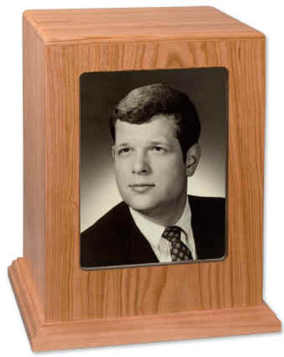 Photo Display Urn in Natural Cherry Wood