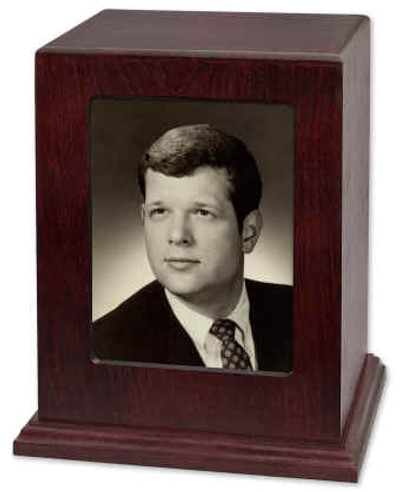 Photo Display Cremation Urn in Rosewood