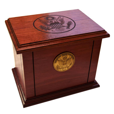 Patriot Military Cremation Urn with Great Seal & Medallion