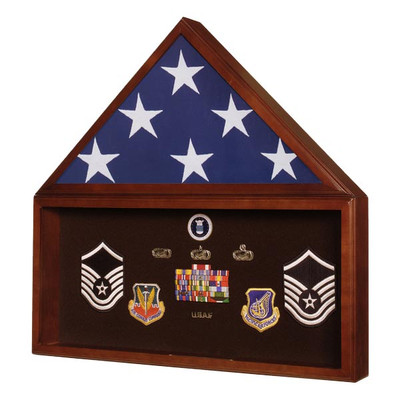 Military Burial Flag Case & Memorabilia Display