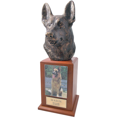 German Shepherd Pet Urn Tower in Cherry