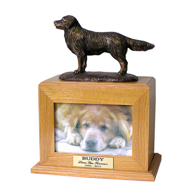 Golden Retriever Urn with Photo Frame in Oak