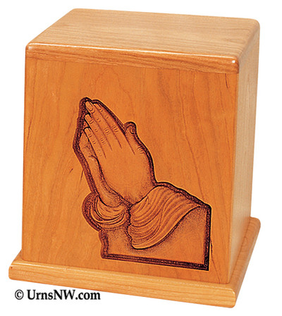 Praying Hands Cherry Keepsake Urn
