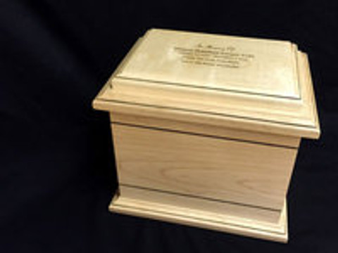 Custom Engraving on Maple Wood Cremation Urn