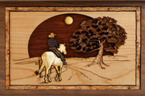 Horse Riding Home Walnut Wood Cremation Urn