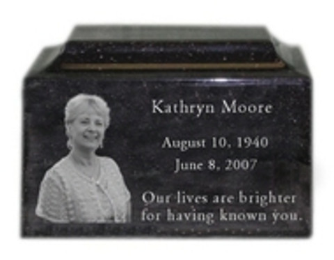 Spotlight: Engraved Photo Granite Cremation Urns