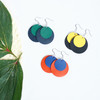 Circle Team Color Leather Earrings