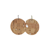 Silver Cork Halo Leather Earring