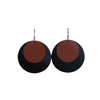 Tan & Black Leather Halo Earring