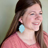 Pistachio Large Solid Leather Earring