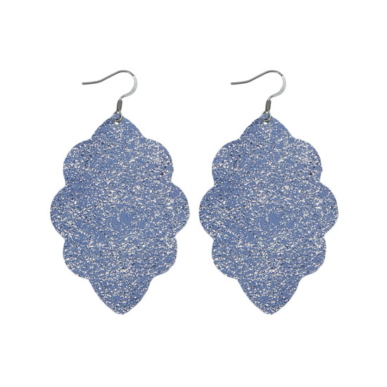 Periwinkle Large Solid Leather Earring