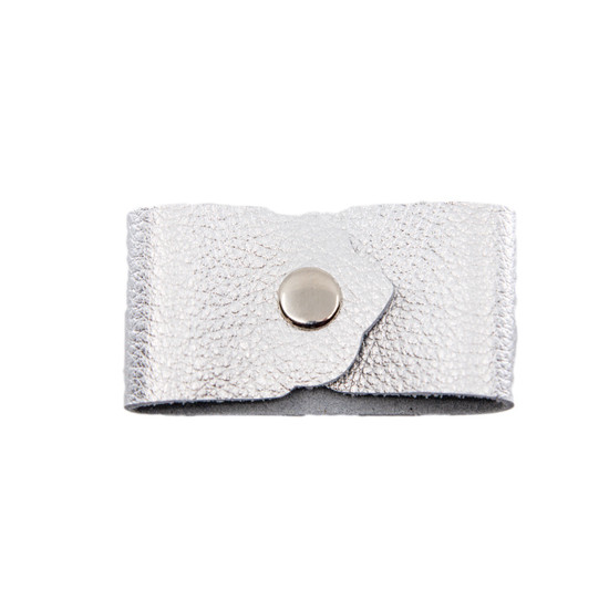 Pebbled Silver Leather Cuff