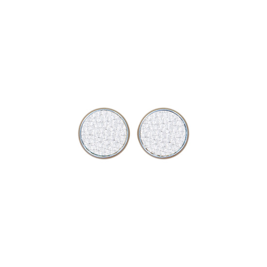 Silver Leather Stud Earring